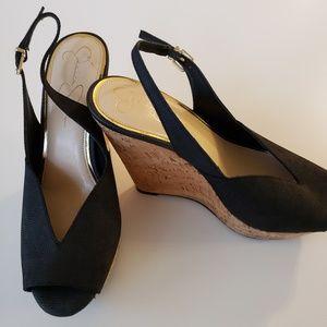 Jessica Simpson Peep Toe Black Wedge Cork Heels